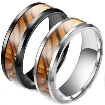 **COI Titanium Black/Silver Brown Black Camo Beveled Edges Ring-6974
