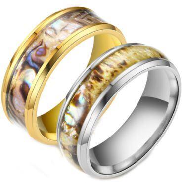 **COI Titanium Gold Tone/Silver Camo Beveled Edges Ring-6975