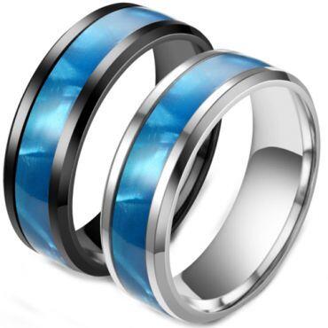 **COI Titanium Black/Silver Blue Camo Beveled Edges Ring-6976