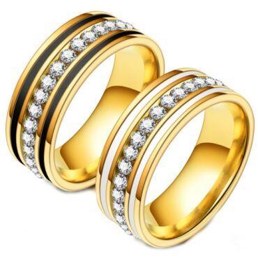 **COI Gold Tone Titanium Black/White Ceramic Ring With Cubic Zirconia-6977