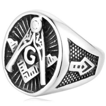 **COI Titanium Black Silver Masonic Freemason Ring-6978