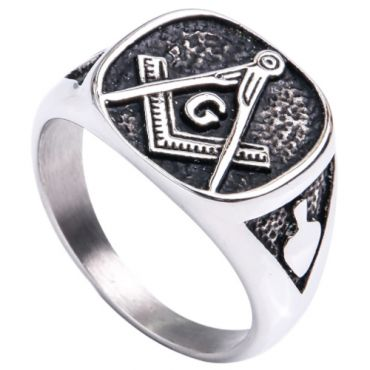 **COI Titanium Black Silver Masonic Freemason Ring-6979