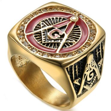**COI Gold Tone Titanium Black Red Masonic Freemason Ring With Cubic Zirconia-6980