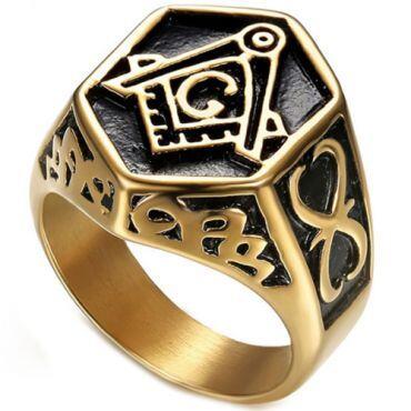 **COI Titanium Black Gold Tone Masonic Freemason Ring-6985