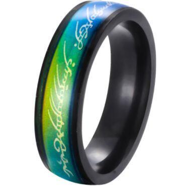 **COI Black  Titanium Rainbow Pride Lord of The Ring Ring-6986