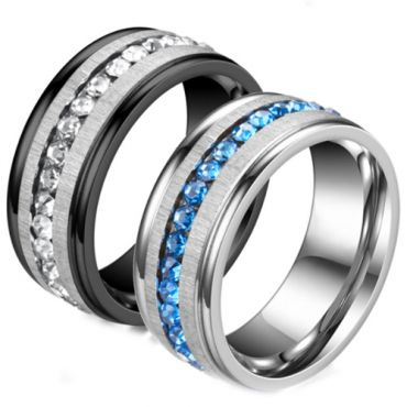 **COI Titanium Silver/Black Silver Step Edges Ring With Cubic Zirconia-6988