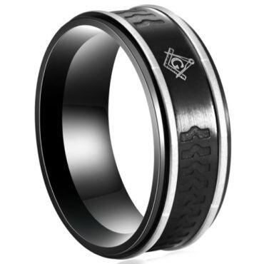 **COI Titanium Black Silver Masonic Ring-6989
