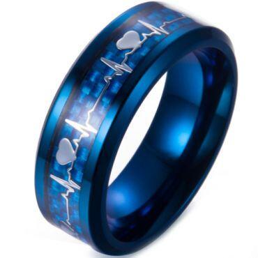 **COI Blue Titanium Heartbeat & Heart Beveled Edges Ring-6990