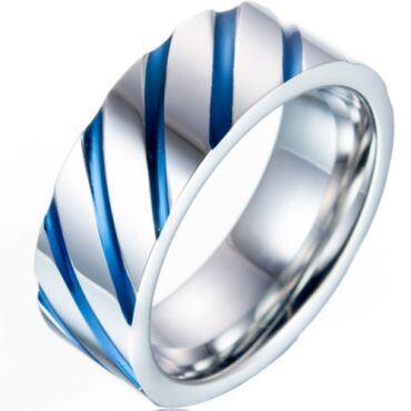 **COI Titanium Blue/Gold Tone Silver Diagonal Grooves Ring-6991