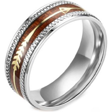 **COI Titanium Wood Ring With Arrows-6994
