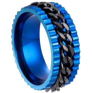 **COI Titanium Black Blue Chain Link Ring-6995