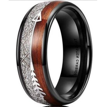 **COI Black Tungsten Carbide Meteorite & Wood Ring With Arrows-6997