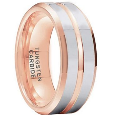 **COI Tungsten Carbide Rose Silver Center Groove Beveled Edges Ring-6999