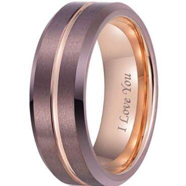 **COI Tungsten Carbide Espresso Rose Center Groove Beveled Edges Ring-7000
