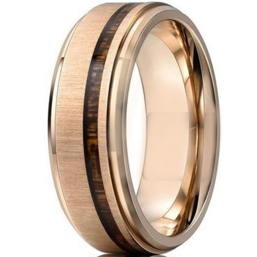 **COI Rose Tungsten Carbide Step Edges Ring With Wood-7001