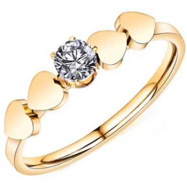 **COI Gold Tone Titanium Solitaire Ring With Hearts-7003