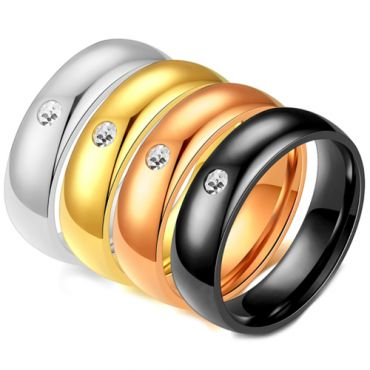 **COI Titanium Gold Tone/Black/Silver/Rose Solitaire Dome Court Ring-7004