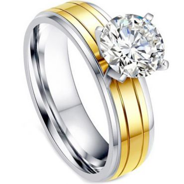 **COI Titanium Gold Tone Silver Solitaire Ring With Cubic Zirconia-7005