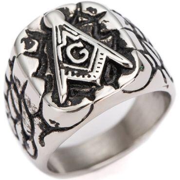 **COI Titanium Black Silver Masonic Freemason Ring-7011