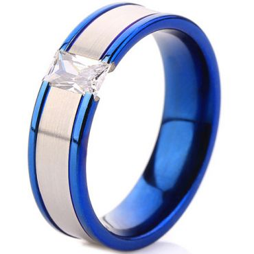 **COI Titanium Blue Silver Solitaire Ring With Cubic Zirconia-7012