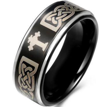 *COI Titanium Black Silver Cross Celtic Step Edges Ring - JT1585B