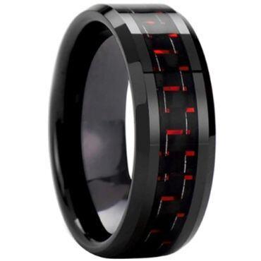 COI Black Titanium Carbon Fiber Beveled Edges Ring - 825