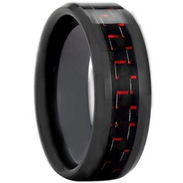 COI Black Tungsten Carbide Ring With Carbon Fiber - TG3693