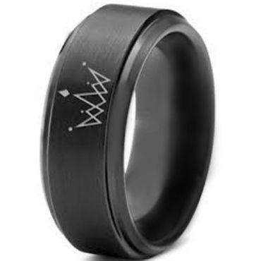*COI Black Tungsten Carbide King Crown Step Edges Ring-891