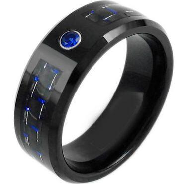 COI Black Tungsten Carbide Carbon Fiber Zirconia Ring-TG3748