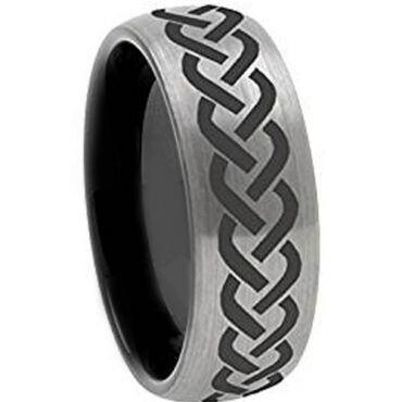 COI Titanium Black Silver Celtic Dome Court Ring - 972
