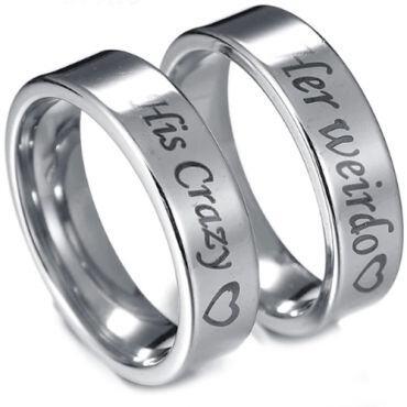 *COI Tungsten Carbide His Crazy Her Weirdo Ring-TG3071AA