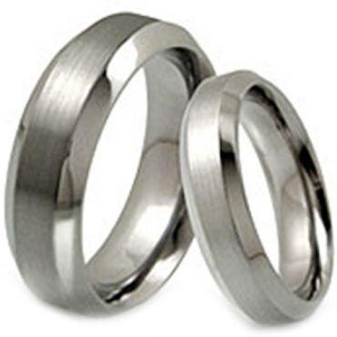 *COI Titanium Beveled Edges Wedding Band Ring - JT054A