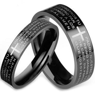 COI Black Titanium Cross Prayer Pipe Cut Flat Ring - JT1000