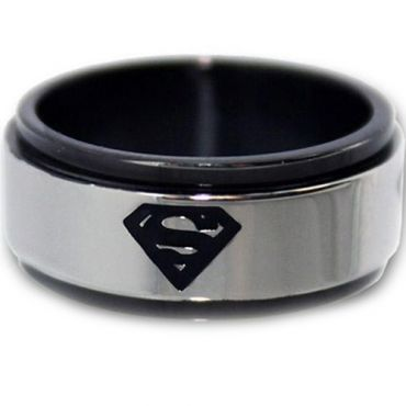 *COI Titanium Black Silver Superman Step Edges Ring - JT1088