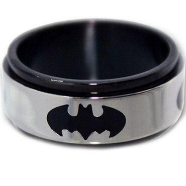 *COI Titanium Black Silver Batman Step Edges Ring - JT1156A