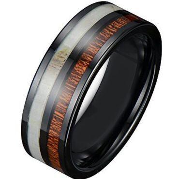 COI Black Tungsten Carbide Deer Antler Pipe Cut Ring-TG3882