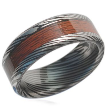 COI Black Titanium Damascus Wood Beveled Edges Ring-1606CC