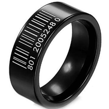 COI Black Titanium Barcode Pipe Cut Flat Ring - JT1822A
