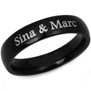 COI Black Titanium Dome Court Ring With Custom Engraving-JT1861