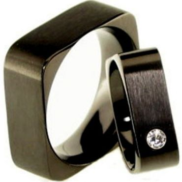 COI Black Titanium Sqaure Wedding Band Ring - JT1898(Size US11)