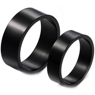 *COI Black Titanium Pipe Cut Flat Ring - JT2183