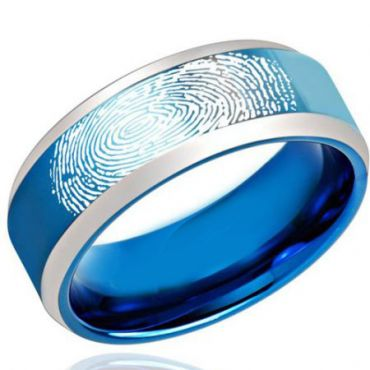COI Tungsten Carbide Blue Silver Ring With Custom FingerPrint-TG2187