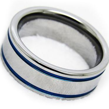 COI Tungsten Carbide Bule Silver Double Grooves Ring - TG3806AA