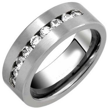*COI Titanium Pipe Cut Ring With Cubic Zirconia - JT2780