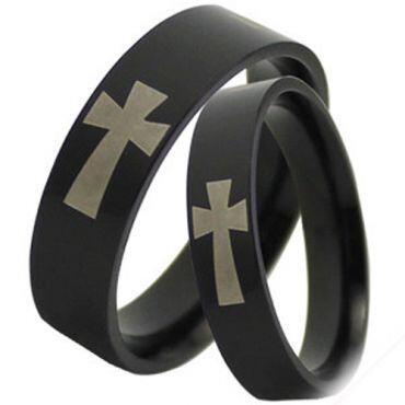 COI Black Titanium Cross Pipe Cut Flat Ring - JT2790