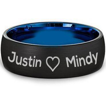 COI Titanium Black Blue Ring With Custom Engraving - JT3060