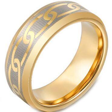 COI Gold Tone Titanium Celtic Beveled Edges Ring - JT3149