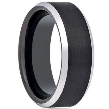 *COI Titanium Black Silver Beveled Edges Ring - JT3165AA