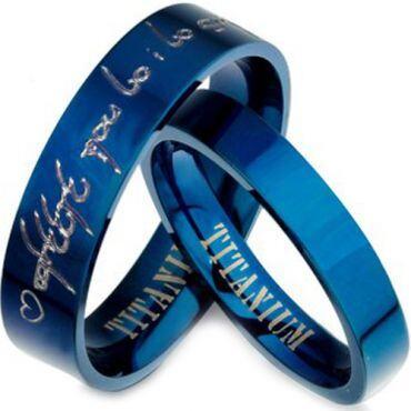 COI Blue Titanium Pipe Cut Custom Engraving Ring-JT3204