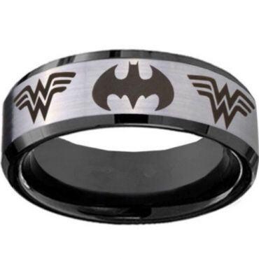 **COI Titanium Batman & Wonder Woman Beveled Edges Ring-JT3234